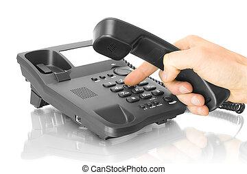電話, オフィス, 手