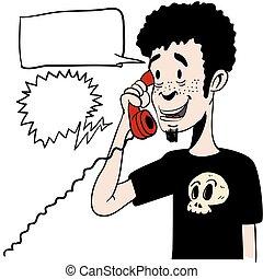 電話, スピーチ, 空, 男の子, 話し, 泡