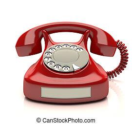 電話, 赤, ラベル