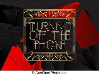 電話, 離れて, deco, text., 回転, 芸術