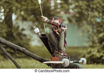 震え, 弓, 座る, 落ちている, 女, 矢, 木, 投げ, 矢