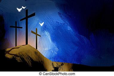 霊歌, グラフィック, キリスト教徒, イエス・キリスト, 十字, 風景, 鳩