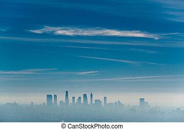 霧が深い, アメリカ, アンジェルという名前の人たち, los, スカイライン, カリフォルニア
