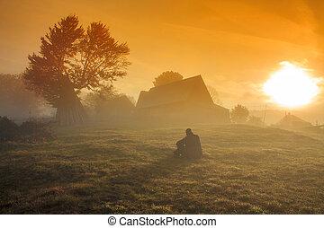 霧が濃い, 日の出, 風景, 朝