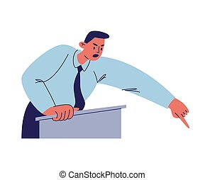 青いシャツ, 漫画, 彼の, の後ろ, イラスト, waist-deep, スピーチ, タイ, マレ, バックグラウンド。, 指, 隔離された, 怒る, 特徴, 誰か。, ベクトル, 数字, ポイント, podium., 人, 白