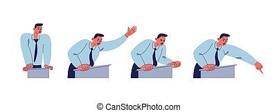 青いシャツ, 漫画, 彼の, 波, の後ろ, イラスト, スピーチ, タイ, 特徴, 会話, バックグラウンド。, 隔離された, 大声で, ベクトル, 力強い, 持つ, ポイント, finger., podium., 人, 白