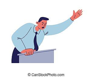 青いシャツ, 漫画, 彼の, 波, の後ろ, イラスト, waist-deep, スピーチ, 手, タイ, マレ, 激怒している, バックグラウンド。, 隔離された, emotion., 特徴, ベクトル, 数字, podium., 人, 白