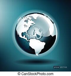 青い地球, イラスト, ベクトル, グロッシー, 背景