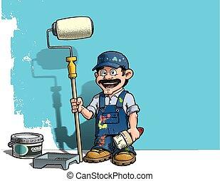 青い壁, handyman, -, ユニフォーム, 画家