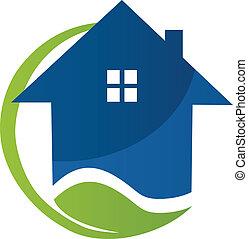 青い家, ベクトル, 葉, ロゴ