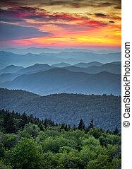 青い山, 偉人, 峰, 層, 景色, 国立公園, 日没, 峰, appalachian, 煙が多い, パークウェイ, 上に, 風景