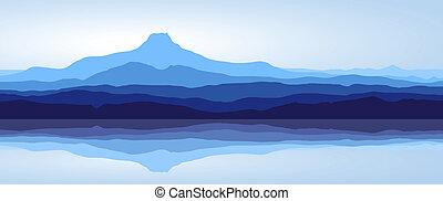 青い山, -, 湖, パノラマ