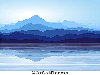 青い山, 湖