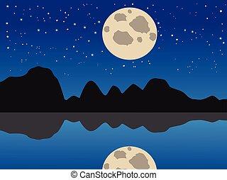 青い月, 湖, 背景, 夜