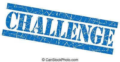 青い正方形, グランジ, 切手, 挑戦, 隔離された, textured, 白