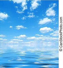 青い水, 空, 反射
