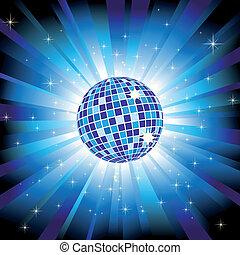青い球, 爆発, ライト, 光っていること, ディスコ, 星, きらめき