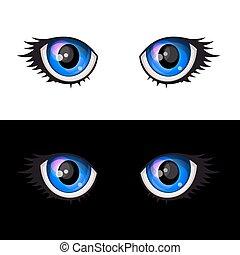 青い目, set., ベクトル, anime, 漫画