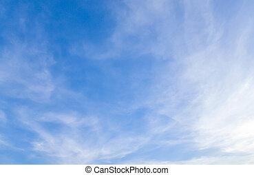 青い空, ゆとり, 雲, 白