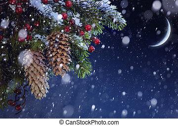 青い空, 木, 雪, クリスマス, bac, 夜, カバーされた, クリスマス