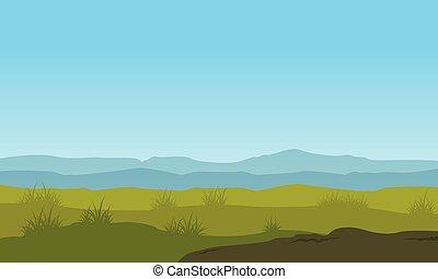 青い空, 風景, イラスト, 自然