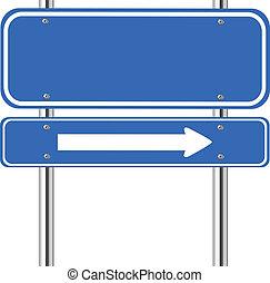青い符号, 交通, 矢, ブランク, 白
