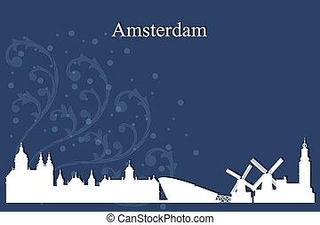 青い背景, アムステルダム, スカイライン, 都市, シルエット