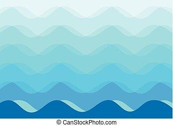 青い背景, 抽象的, ベクトル, 海, 波
