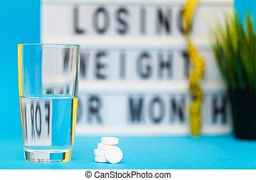 青い背景, 損失, 丸薬, 白, 重量