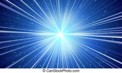 青い背景, 星, ライト, 照ること, 光線