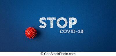 青い背景, 止まれ, ウイルス, covid-19, テキスト
