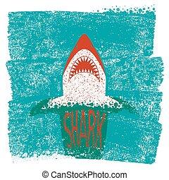 青い背景, 海, 波, ベクトル, jaws., サメ