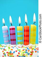青い背景, 蝋燭, birthday, 5