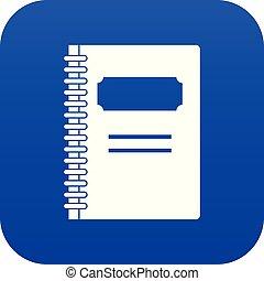 青い螺線形, ノート, 閉じられた, デジタル, アイコン