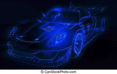 青い車, ネオン