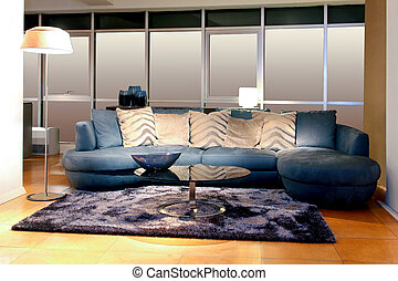 青い長椅子