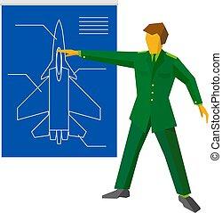 青写真, ショー, fighter., 航空機, 軍, 人