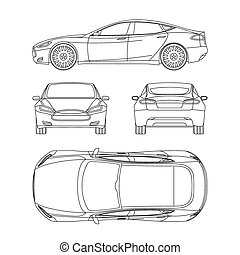 青写真, ドロー, 形態, 自動車, 損害, 線, すべて, 背中, 4, 賃貸料, レポート, 保険, 光景, 上, 状態, 側