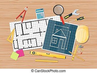 青写真, desk., 道具, エンジニア