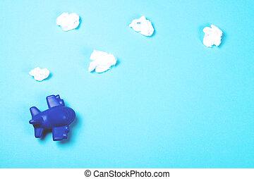 青, おもちゃ, 雲, バックグラウンド。, 飛行機, 綿