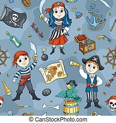 青, かわいい, 海賊, seamless, パターン