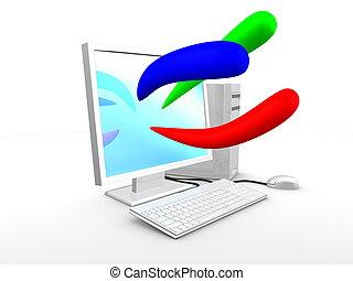 青, イメージ, 色, コンピュータ, 緑, 基本, 3d, 赤