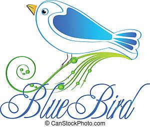 青, イラスト, ロゴ, 鳥, ベクトル