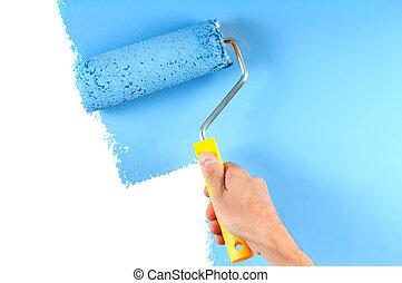 青, カラーの絵, ローラー, 壁