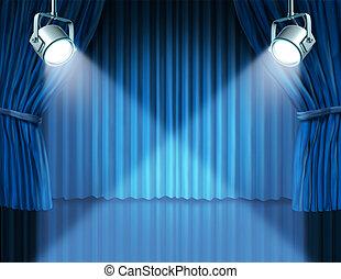 青, カーテン, ビロード, スポットライト, 映画館
