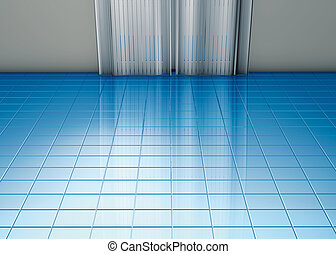 青, カーテン, 床