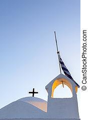 青, ギリシャ教会, 空, 下に