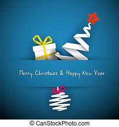 青, クリスマス, 単純である, 木, 贈り物, ベクトル, 安っぽい飾り, カード