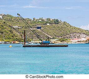 青, クレーン, カリブ海, てんま船