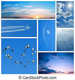 青, コラージュ, sky-related, イメージ